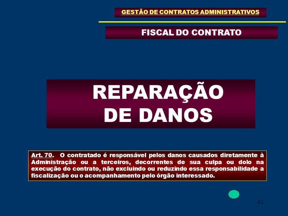 62 FISCAL DO CONTRATO GESTÃO DE CONTRATOS ADMINISTRATIVOS REPARAÇÃO DE DANOS Art. 70.O contratado é responsável pelos danos causados diretamente à Adm