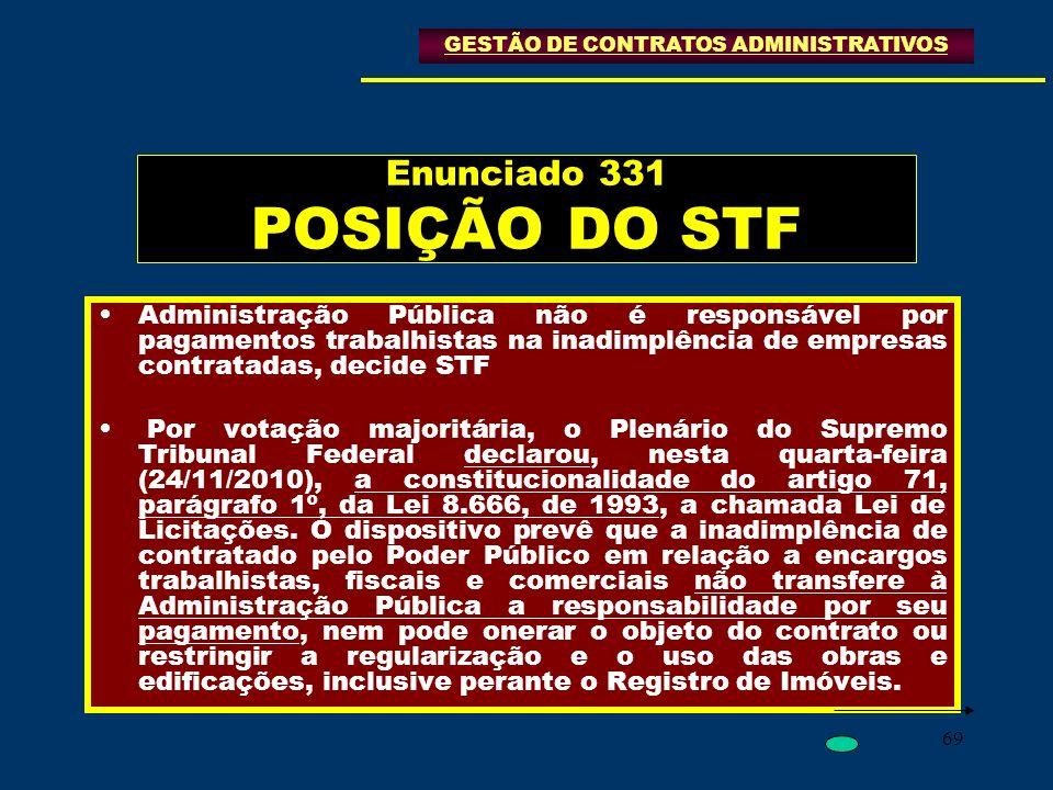 69 Enunciado 331 POSIÇÃO DO STF Administração Pública não é responsável por pagamentos trabalhistas na inadimplência de empresas contratadas, decide S