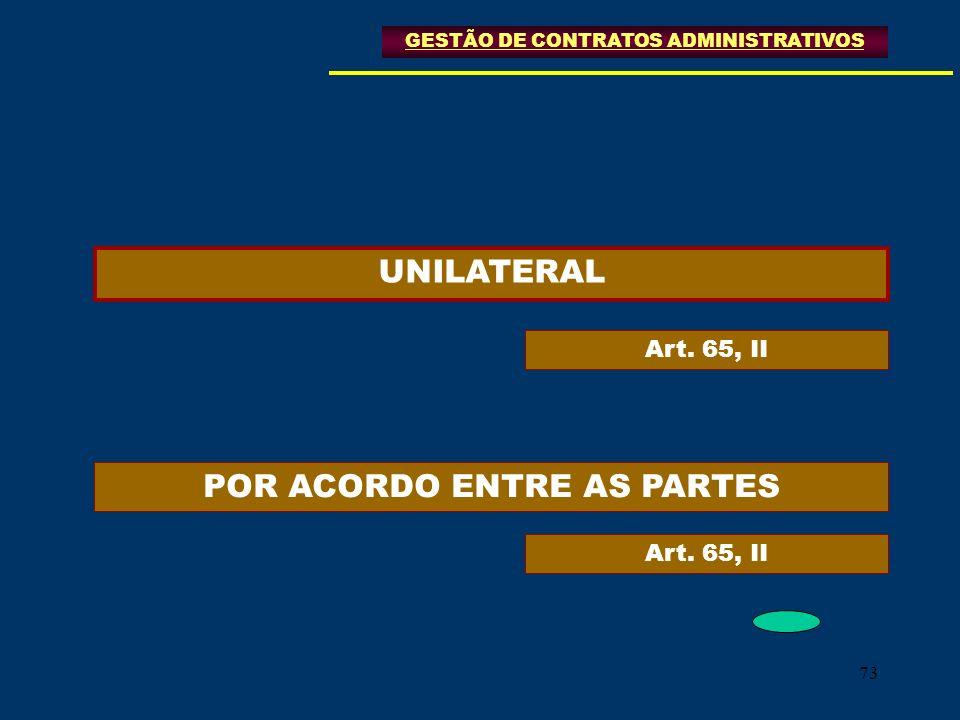 73 GESTÃO DE CONTRATOS ADMINISTRATIVOS UNILATERAL POR ACORDO ENTRE AS PARTES Art. 65, II