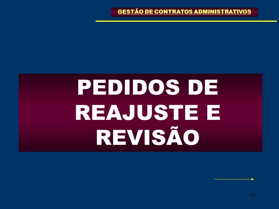 75 GESTÃO DE CONTRATOS ADMINISTRATIVOS PEDIDOS DE REAJUSTE E REVISÃO