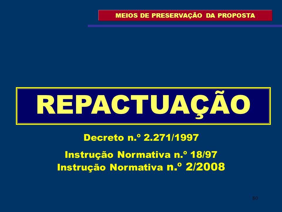 80 MEIOS DE PRESERVAÇÃO DA PROPOSTA REPACTUAÇÃO Decreto n.º 2.271/1997 Instrução Normativa n.º 18/97 Instrução Normativa n.º 2/2008