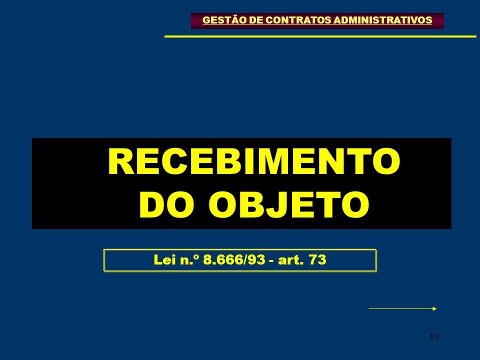 89 GESTÃO DE CONTRATOS ADMINISTRATIVOS RECEBIMENTO DO OBJETO Lei n.º 8.666/93 - art. 73