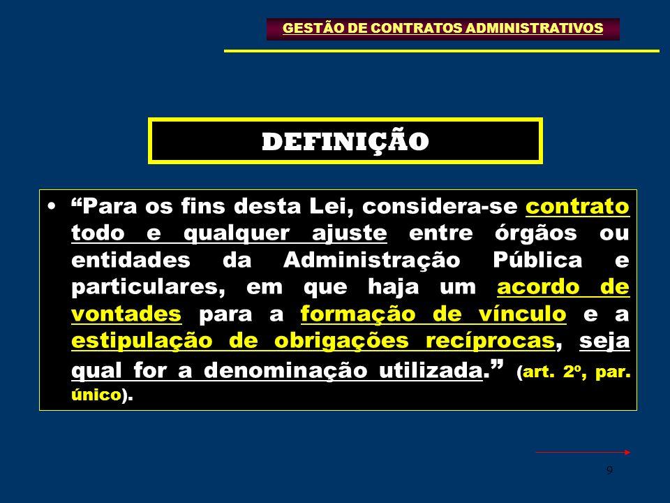 9 DEFINIÇÃO Para os fins desta Lei, considera-se contrato todo e qualquer ajuste entre órgãos ou entidades da Administração Pública e particulares, em