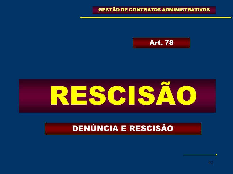 92 GESTÃO DE CONTRATOS ADMINISTRATIVOS RESCISÃO Art. 78 DENÚNCIA E RESCISÃO