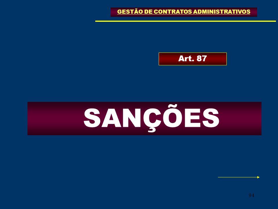 94 GESTÃO DE CONTRATOS ADMINISTRATIVOS SANÇÕES Art. 87
