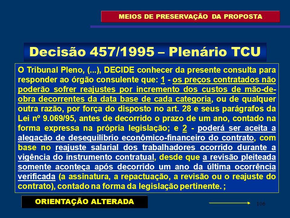 106 MEIOS DE PRESERVAÇÃO DA PROPOSTA O Tribunal Pleno, (...), DECIDE conhecer da presente consulta para responder ao órgão consulente que: 1 - os preç
