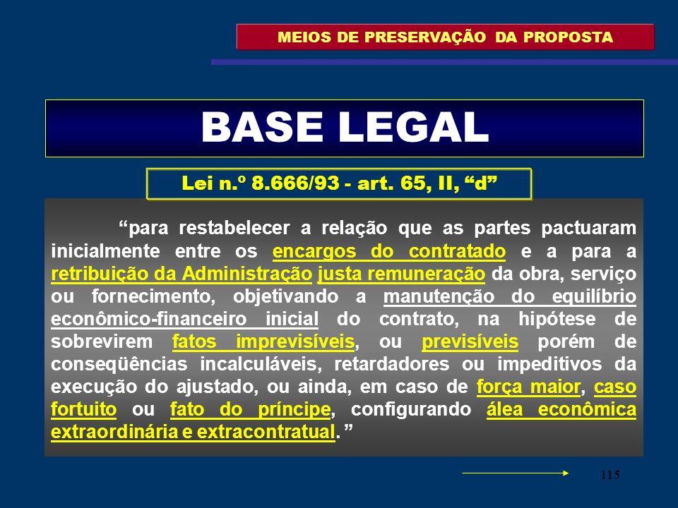 115 MEIOS DE PRESERVAÇÃO DA PROPOSTA para restabelecer a relação que as partes pactuaram inicialmente entre os encargos do contratado e a para a retri