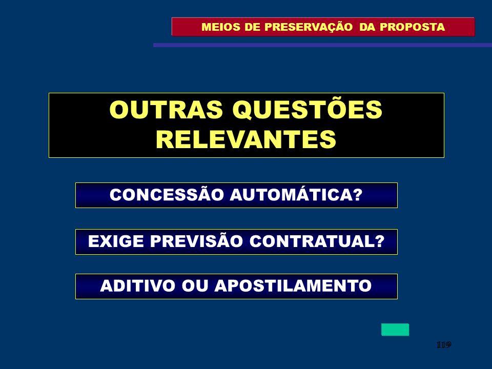 119 MEIOS DE PRESERVAÇÃO DA PROPOSTA OUTRAS QUESTÕES RELEVANTES CONCESSÃO AUTOMÁTICA? EXIGE PREVISÃO CONTRATUAL? ADITIVO OU APOSTILAMENTO