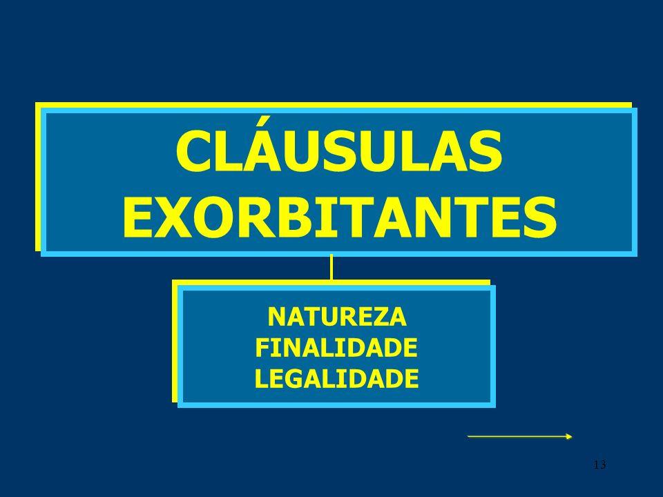 13 CLÁUSULAS EXORBITANTES NATUREZA FINALIDADE LEGALIDADE
