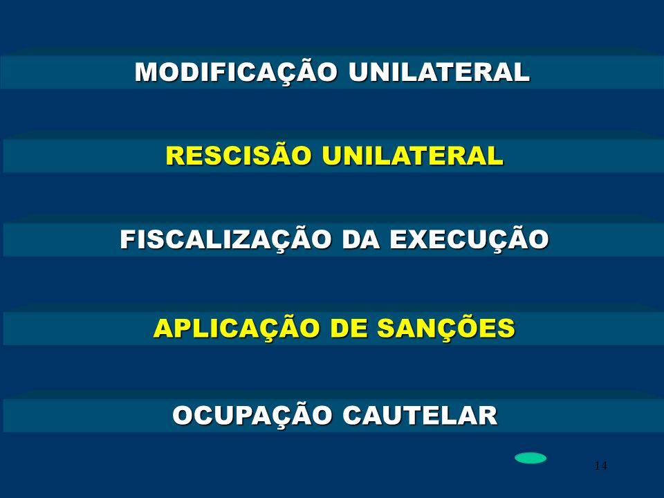 14 MODIFICAÇÃO UNILATERAL RESCISÃO UNILATERAL FISCALIZAÇÃO DA EXECUÇÃO APLICAÇÃO DE SANÇÕES OCUPAÇÃO CAUTELAR