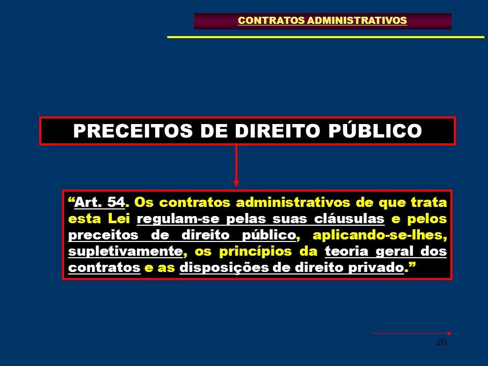 20 PRECEITOS DE DIREITO PÚBLICO CONTRATOS ADMINISTRATIVOS Art. 54. Os contratos administrativos de que trata esta Lei regulam-se pelas suas cláusulas