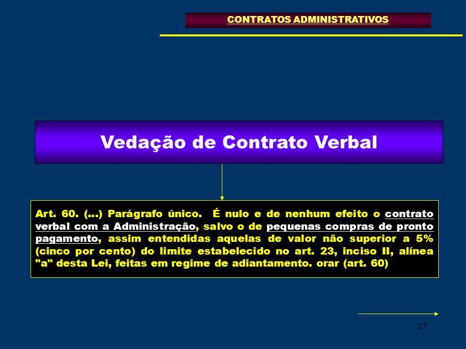 27 Art. 60. (...) Parágrafo único. É nulo e de nenhum efeito o contrato verbal com a Administração, salvo o de pequenas compras de pronto pagamento, a