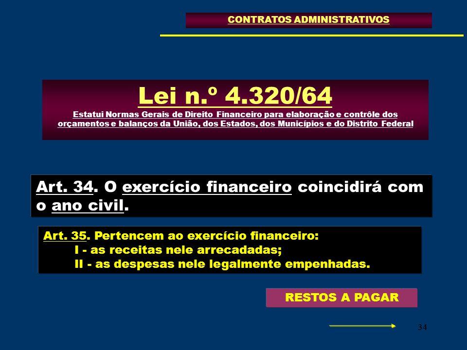 34 CONTRATOS ADMINISTRATIVOS Lei n.º 4.320/64 Estatui Normas Gerais de Direito Financeiro para elaboração e contrôle dos orçamentos e balanços da Uniã