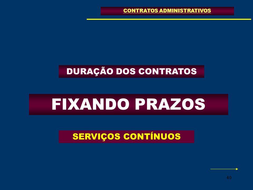 40 FIXANDO PRAZOS CONTRATOS ADMINISTRATIVOS SERVIÇOS CONTÍNUOS DURAÇÃO DOS CONTRATOS