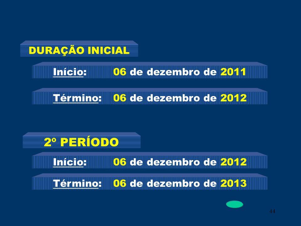 44 Início: 06 de dezembro de 2011 Término: 06 de dezembro de 2012 DURAÇÃO INICIAL 2º PERÍODO Início: 06 de dezembro de 2012 Término: 06 de dezembro de