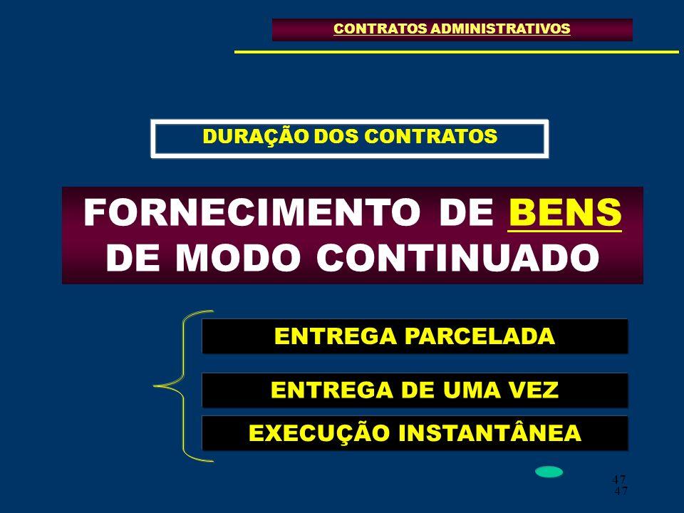 47 CONTRATOS ADMINISTRATIVOS FORNECIMENTO DE BENS DE MODO CONTINUADO DURAÇÃO DOS CONTRATOS ENTREGA PARCELADA ENTREGA DE UMA VEZ EXECUÇÃO INSTANTÂNEA