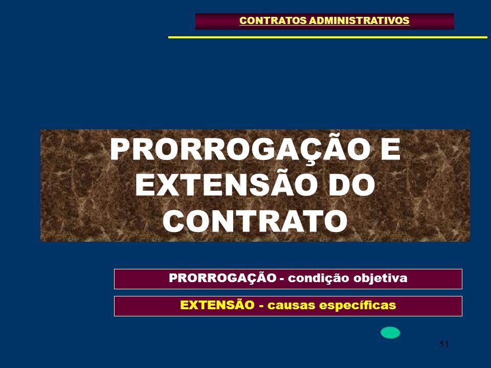 51 PRORROGAÇÃO E EXTENSÃO DO CONTRATO CONTRATOS ADMINISTRATIVOS PRORROGAÇÃO - condição objetiva EXTENSÃO - causas específicas