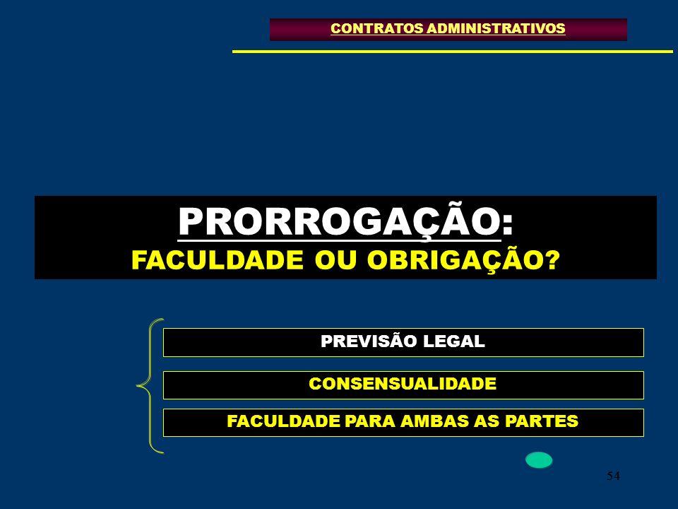 54 PRORROGAÇÃO: FACULDADE OU OBRIGAÇÃO? CONTRATOS ADMINISTRATIVOS PREVISÃO LEGAL CONSENSUALIDADE FACULDADE PARA AMBAS AS PARTES
