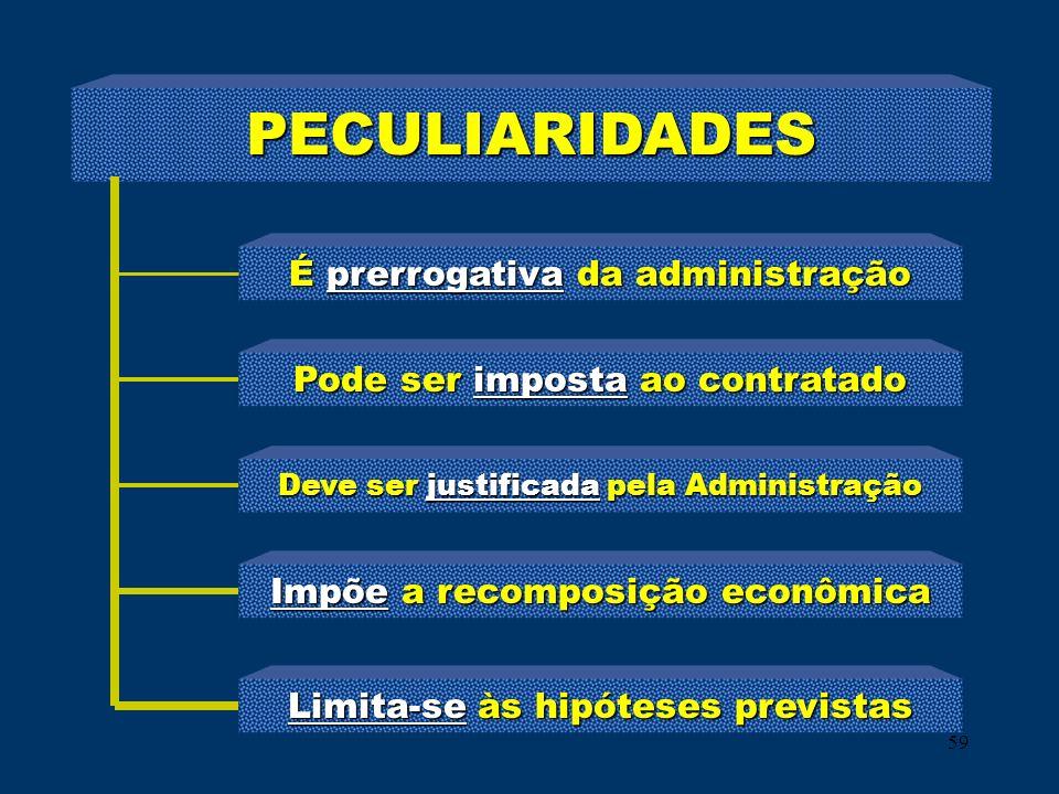 59 PECULIARIDADES É prerrogativa da administração Pode ser imposta ao contratado Deve ser justificada pela Administração Impõe a recomposição econômic