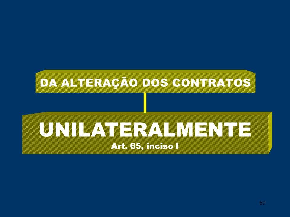 60 DA ALTERAÇÃO DOS CONTRATOS UNILATERALMENTE Art. 65, inciso I