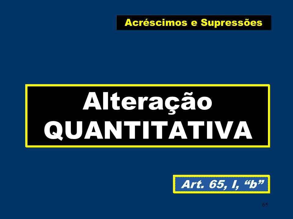 65 Alteração QUANTITATIVA Art. 65, I, b Acréscimos e Supressões