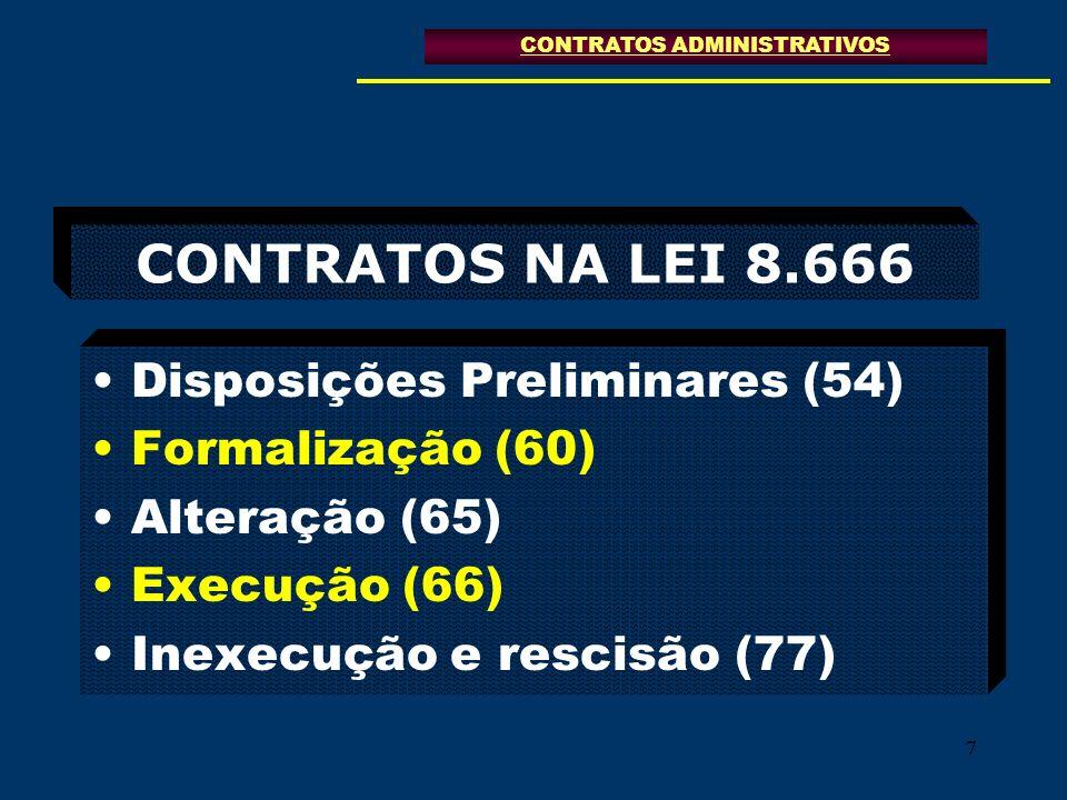 77 CONTRATOS NA LEI 8.666 Disposições Preliminares (54) Formalização (60) Alteração (65) Execução (66) Inexecução e rescisão (77) CONTRATOS ADMINISTRA