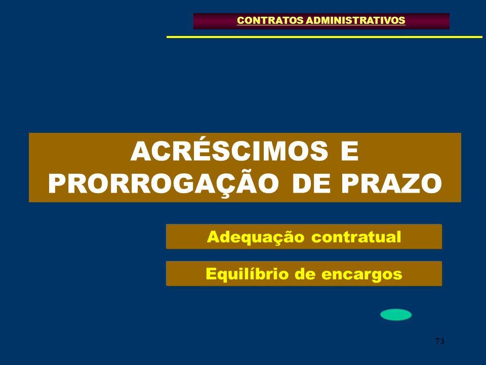 73 ACRÉSCIMOS E PRORROGAÇÃO DE PRAZO CONTRATOS ADMINISTRATIVOS Adequação contratual Equilíbrio de encargos