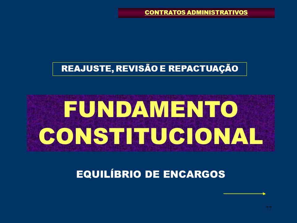 77 REAJUSTE, REVISÃO E REPACTUAÇÃO FUNDAMENTO CONSTITUCIONAL CONTRATOS ADMINISTRATIVOS EQUILÍBRIO DE ENCARGOS