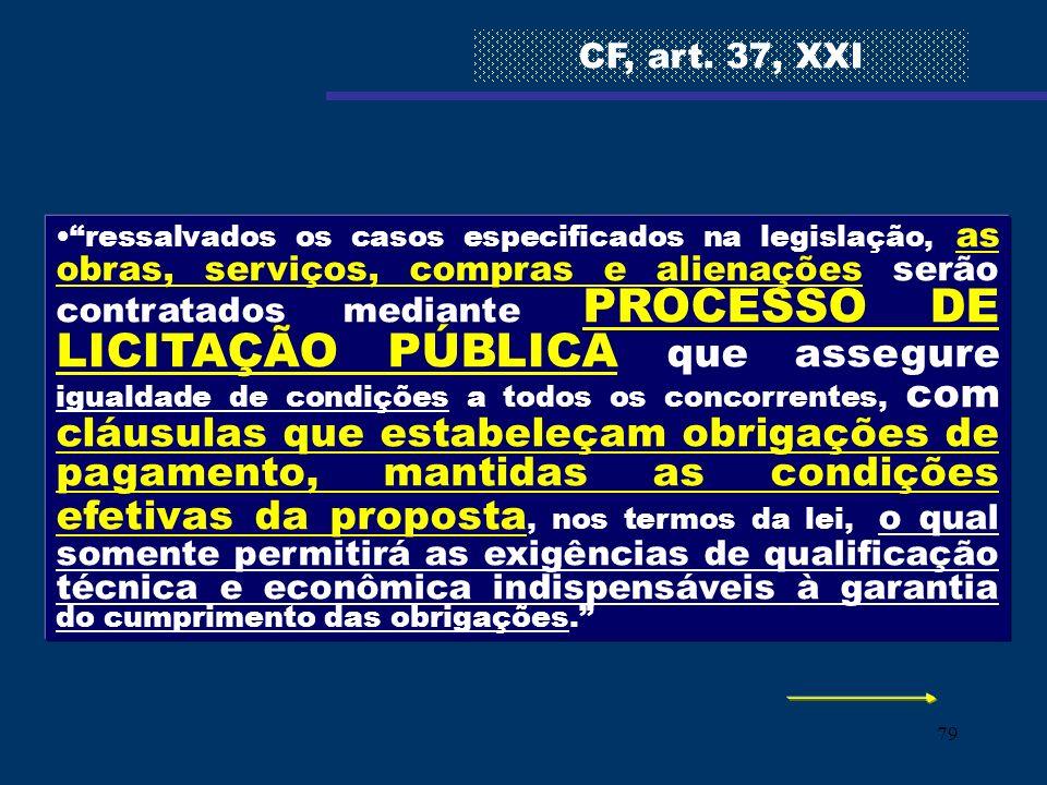 79 ressalvados os casos especificados na legislação, as obras, serviços, compras e alienações serão contratados mediante PROCESSO DE LICITAÇÃO PÚBLICA