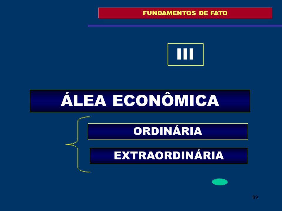89 FUNDAMENTOS DE FATO ÁLEA ECONÔMICA ORDINÁRIA III EXTRAORDINÁRIA