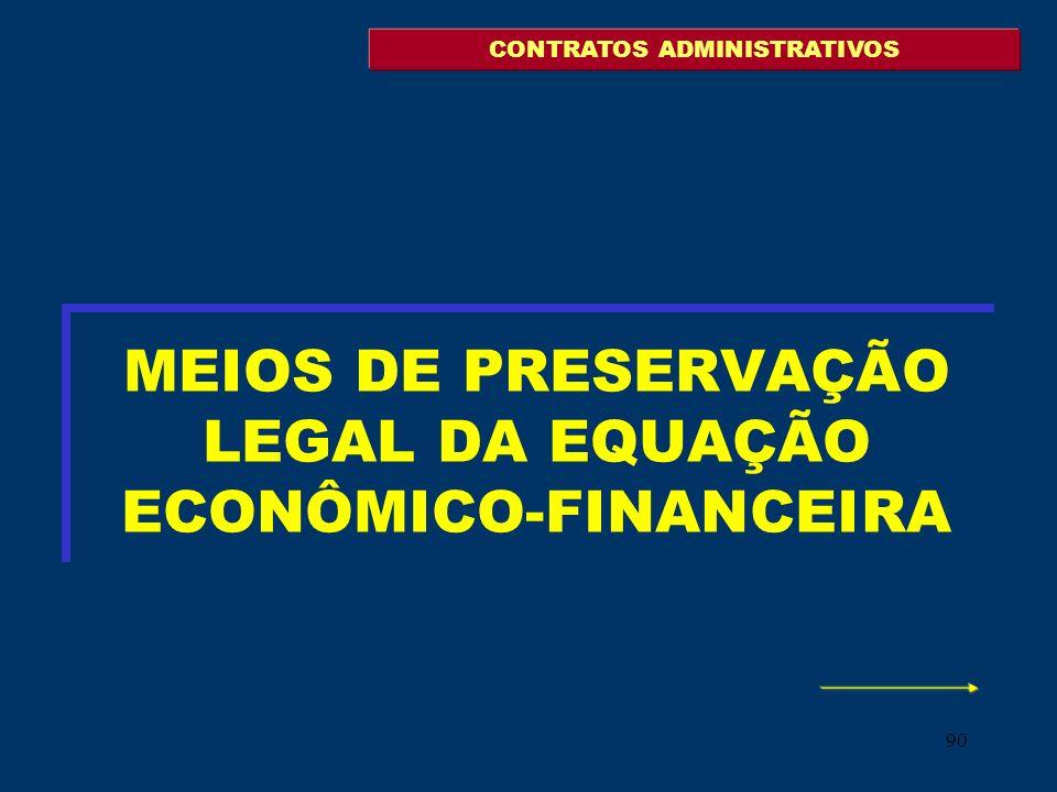 90 MEIOS DE PRESERVAÇÃO LEGAL DA EQUAÇÃO ECONÔMICO-FINANCEIRA CONTRATOS ADMINISTRATIVOS