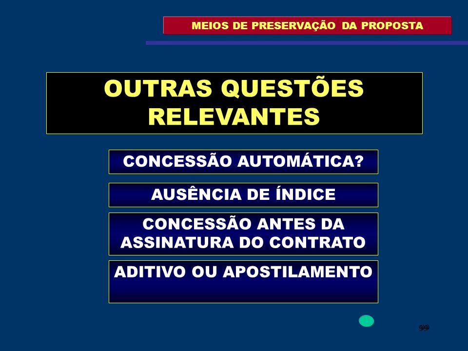 99 MEIOS DE PRESERVAÇÃO DA PROPOSTA OUTRAS QUESTÕES RELEVANTES CONCESSÃO AUTOMÁTICA? AUSÊNCIA DE ÍNDICE CONCESSÃO ANTES DA ASSINATURA DO CONTRATO ADIT