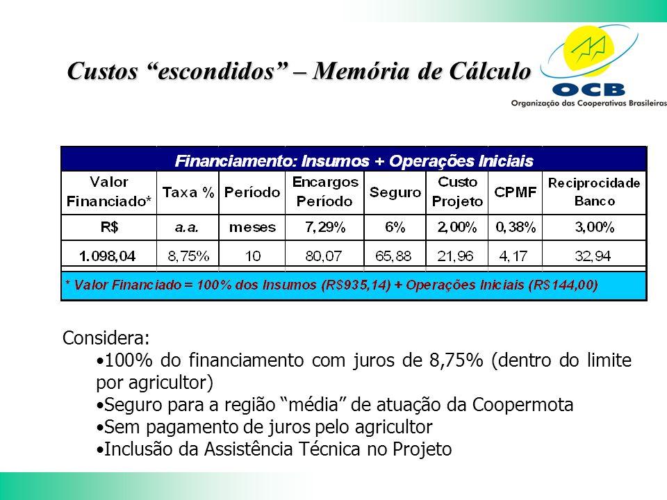 Custos escondidos – Memória de Cálculo Considera: 100% do financiamento com juros de 8,75% (dentro do limite por agricultor) Seguro para a região média de atuação da Coopermota Sem pagamento de juros pelo agricultor Inclusão da Assistência Técnica no Projeto