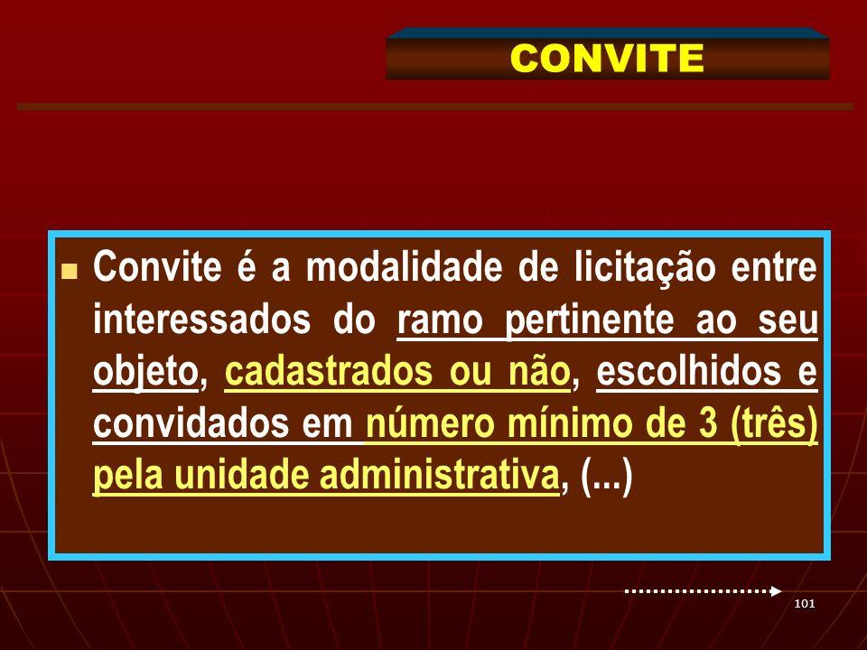 101 Convite é a modalidade de licitação entre interessados do ramo pertinente ao seu objeto, cadastrados ou não, escolhidos e convidados em número mín