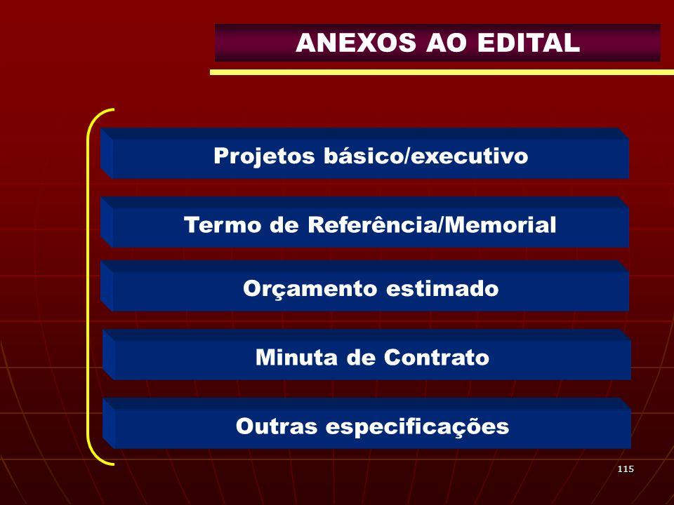 115 Projetos básico/executivo Orçamento estimado Minuta de Contrato Outras especificações Termo de Referência/Memorial ANEXOS AO EDITAL