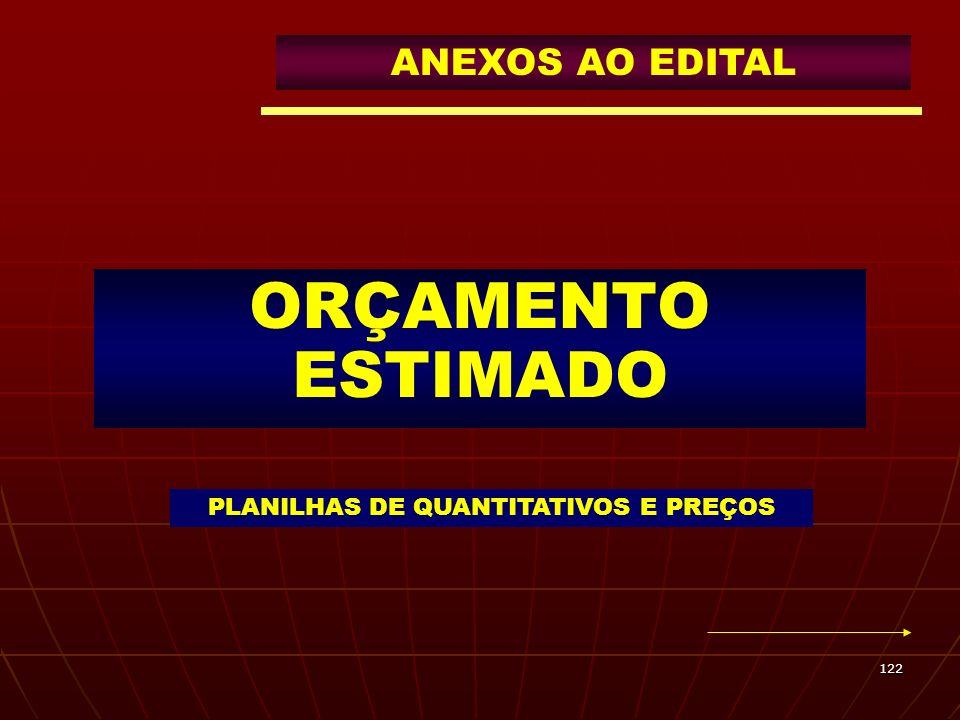 122 ORÇAMENTO ESTIMADO PLANILHAS DE QUANTITATIVOS E PREÇOS ANEXOS AO EDITAL