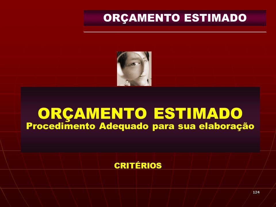 124 ORÇAMENTO ESTIMADO Procedimento Adequado para sua elaboração CRITÉRIOS ORÇAMENTO ESTIMADO
