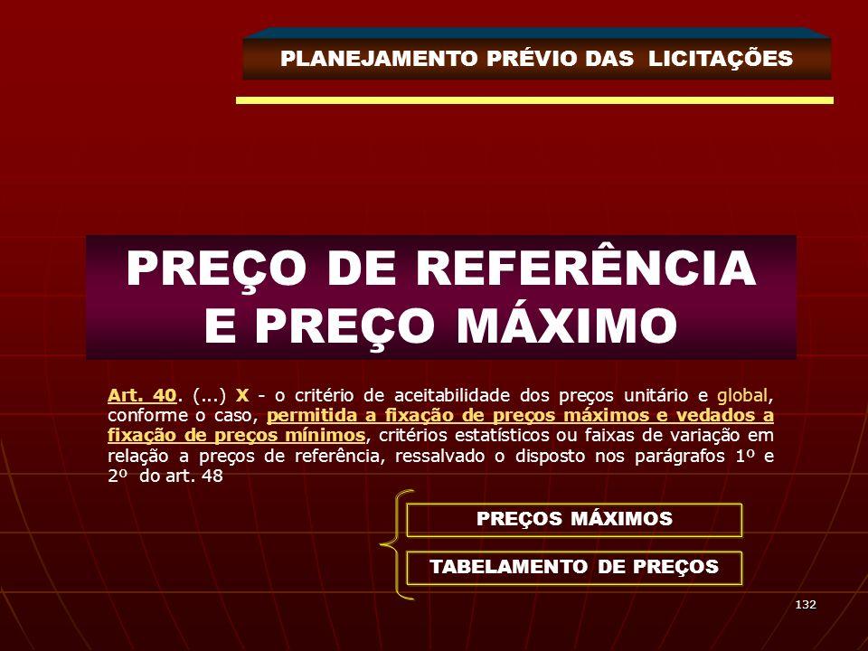 132 PREÇO DE REFERÊNCIA E PREÇO MÁXIMO PLANEJAMENTO PRÉVIO DAS LICITAÇÕES Art. 40. (...) X - o critério de aceitabilidade dos preços unitário e global
