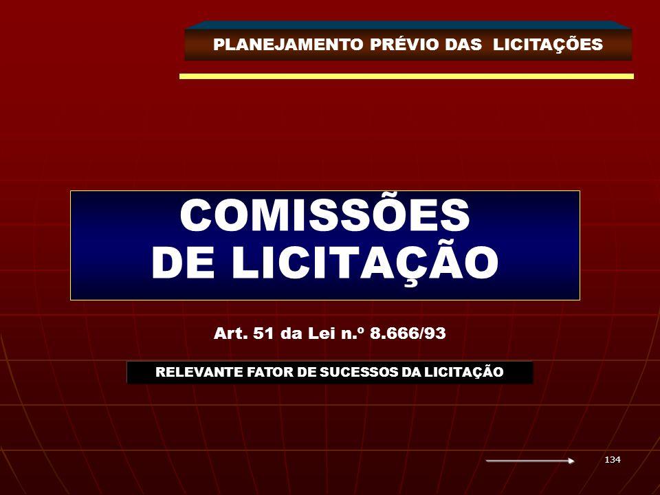 134 COMISSÕES DE LICITAÇÃO PLANEJAMENTO PRÉVIO DAS LICITAÇÕES Art. 51 da Lei n.º 8.666/93 RELEVANTE FATOR DE SUCESSOS DA LICITAÇÃO