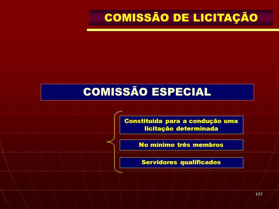 137 COMISSÃO DE LICITAÇÃO COMISSÃO ESPECIAL Constituída para a condução uma licitação determinada No mínimo três membros Servidores qualificados