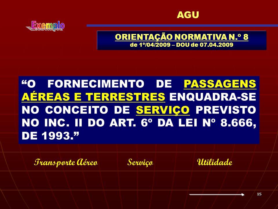 1515 ORIENTAÇÃO NORMATIVA N.º 8 de 1º/04/2009 – DOU de 07.04.2009 AGU O FORNECIMENTO DE PASSAGENS AÉREAS E TERRESTRES ENQUADRA-SE NO CONCEITO DE SERVI
