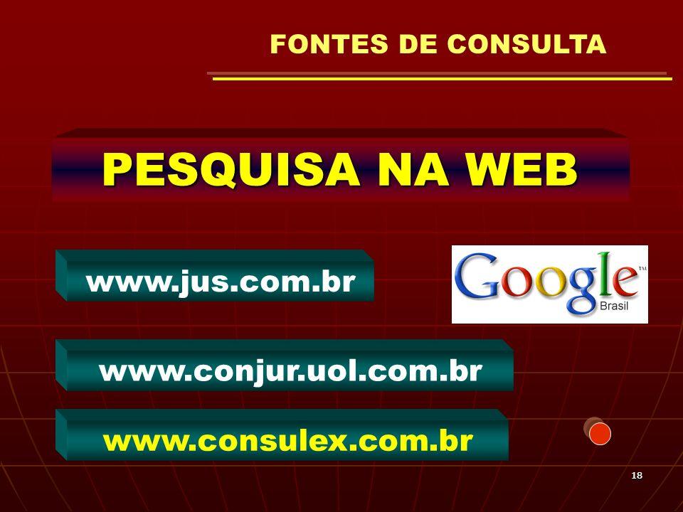 1818 PESQUISA NA WEB www.conjur.uol.com.br www.jus.com.br www.consulex.com.br FONTES DE CONSULTA