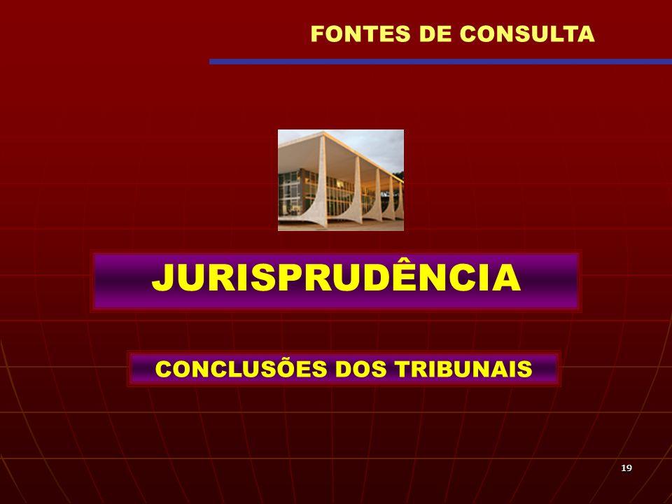 1919 JURISPRUDÊNCIA CONCLUSÕES DOS TRIBUNAIS FONTES DE CONSULTA