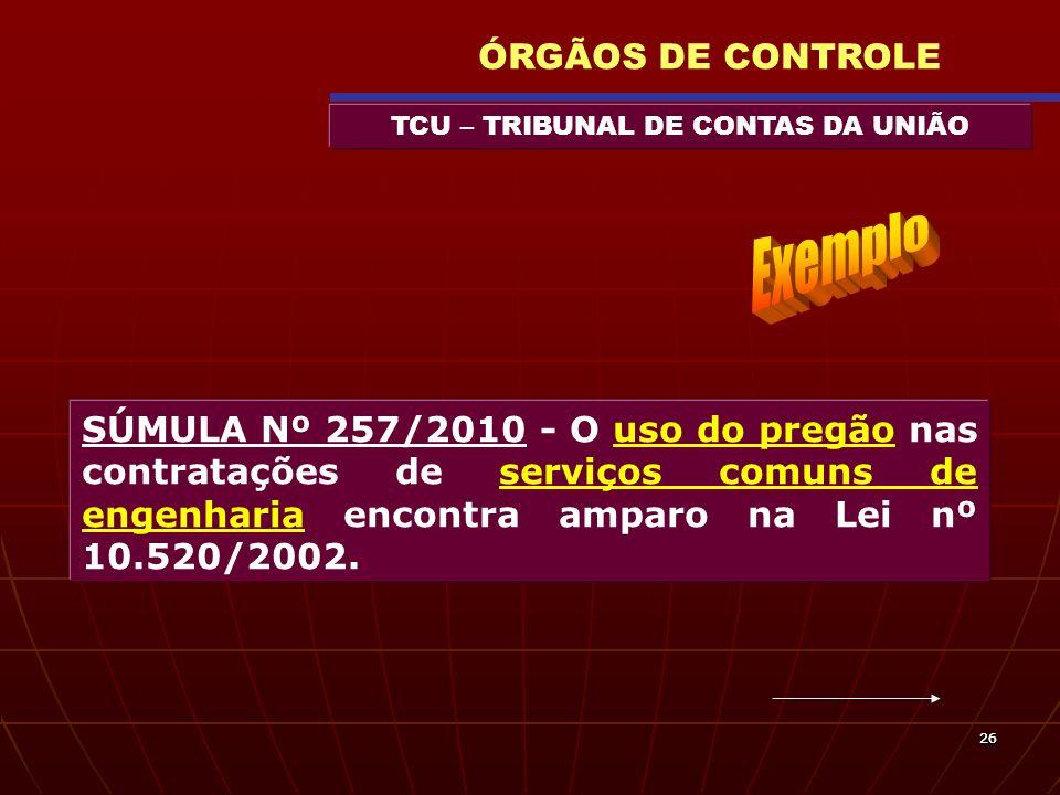 2626 TCU – TRIBUNAL DE CONTAS DA UNIÃO ÓRGÃOS DE CONTROLE SÚMULA Nº 257/2010 - O uso do pregão nas contratações de serviços comuns de engenharia encon