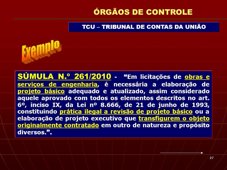 2727 TCU – TRIBUNAL DE CONTAS DA UNIÃO ÓRGÃOS DE CONTROLE SÚMULA N.º 261/2010 - Em licitações de obras e serviços de engenharia, é necessária a elabor