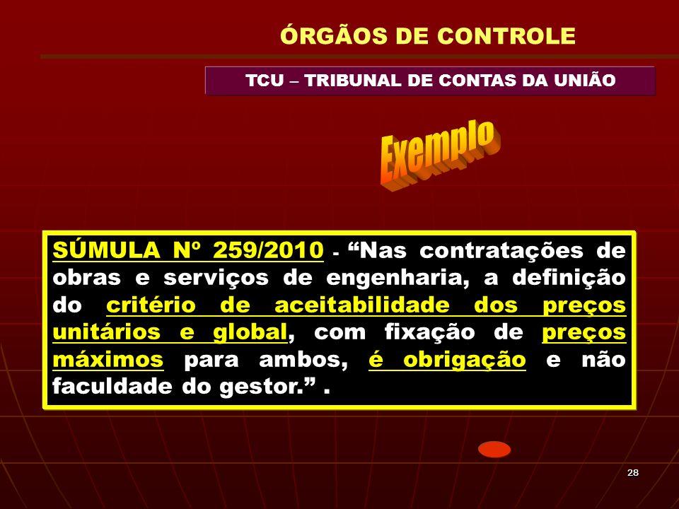 2828 TCU – TRIBUNAL DE CONTAS DA UNIÃO ÓRGÃOS DE CONTROLE SÚMULA Nº 259/2010 - Nas contratações de obras e serviços de engenharia, a definição do crit