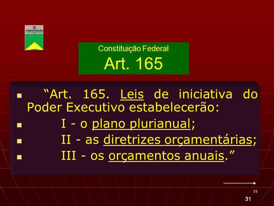 31 Art. 165. Leis de iniciativa do Poder Executivo estabelecerão: I - o plano plurianual; II - as diretrizes orçamentárias; III - os orçamentos anuais