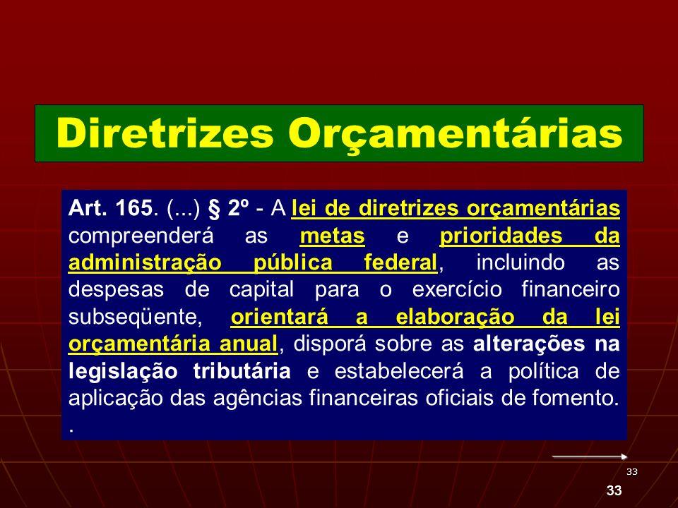 33 Art. 165. (...) § 2º - A lei de diretrizes orçamentárias compreenderá as metas e prioridades da administração pública federal, incluindo as despesa