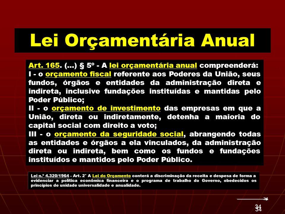 34 Art. 165. (...) § 5º - A lei orçamentária anual compreenderá: I - o orçamento fiscal referente aos Poderes da União, seus fundos, órgãos e entidade