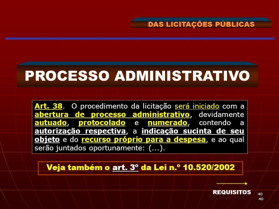 40 40 DAS LICITAÇÕES PÚBLICAS PROCESSO ADMINISTRATIVO Art. 38. O procedimento da licitação será iniciado com a abertura de processo administrativo, de